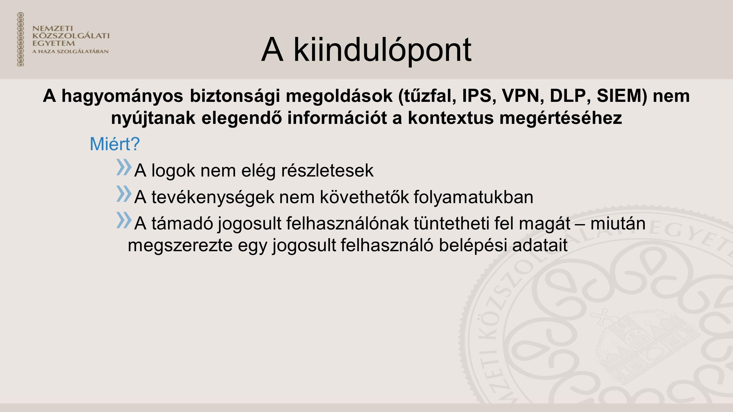 A kiindulópont A hagyományos biztonsági megoldások (tűzfal, IPS, VPN, DLP, SIEM) nem nyújtanak elegendő információt a kontextus megértéséhez Miért.