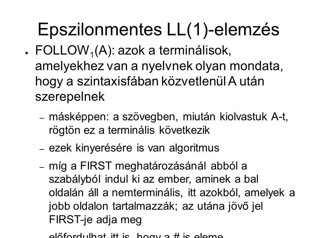 Epszilonmentes LL(1)-elemzés ● FOLLOW 1 (A): azok a terminálisok, amelyekhez van a nyelvnek olyan mondata, hogy a szintaxisfában közvetlenül A után szerepelnek – másképpen: a szövegben, miután kiolvastuk A-t, rögtön ez a terminális következik – ezek kinyerésére is van algoritmus – míg a FIRST meghatározásánál abból a szabályból indul ki az ember, aminek a bal oldalán áll a nemterminális, itt azokból, amelyek a jobb oldalon tartalmazzák; az utána jövő jel FIRST-je adja meg – előfordulhat itt is, hogy a # is eleme