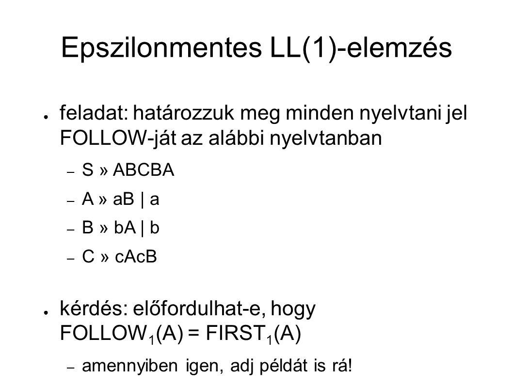 Epszilonmentes LL(1)-elemzés ● feladat: határozzuk meg minden nyelvtani jel FOLLOW-ját az alábbi nyelvtanban – S » ABCBA – A » aB | a – B » bA | b – C