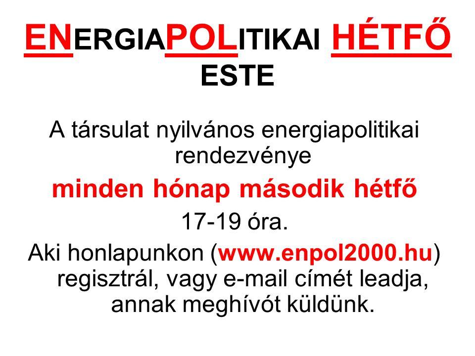 Á ldott Adventet é s Kar á csonyt, boldog ú j é vet k í v á nunk: Energiapolitika 2000 T á rsulat Eln ö ks é ge
