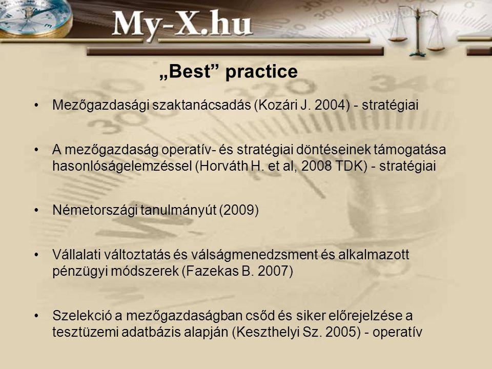 Mezőgazdasági szaktanácsadás (Kozári J. 2004) - stratégiai A mezőgazdaság operatív- és stratégiai döntéseinek támogatása hasonlóságelemzéssel (Horváth