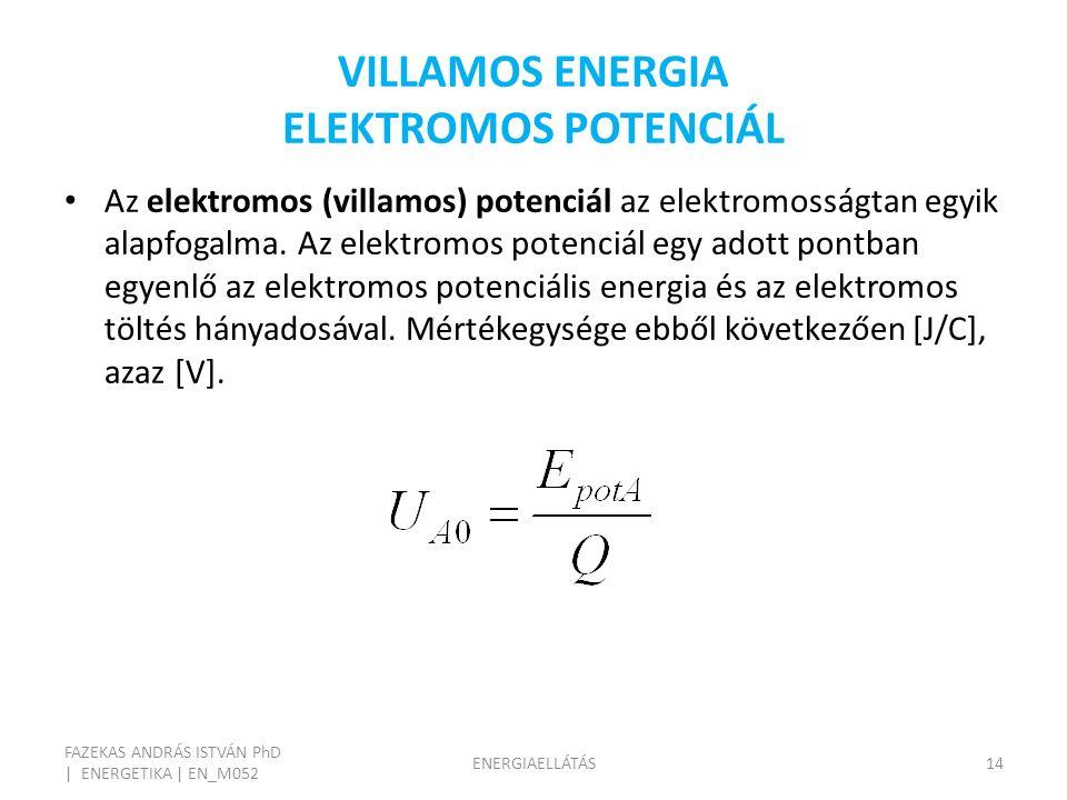 VILLAMOS ENERGIA ELEKTROMOS POTENCIÁL FAZEKAS ANDRÁS ISTVÁN PhD | ENERGETIKA | EN_M052 ENERGIAELLÁTÁS14 Az elektromos (villamos) potenciál az elektromosságtan egyik alapfogalma.