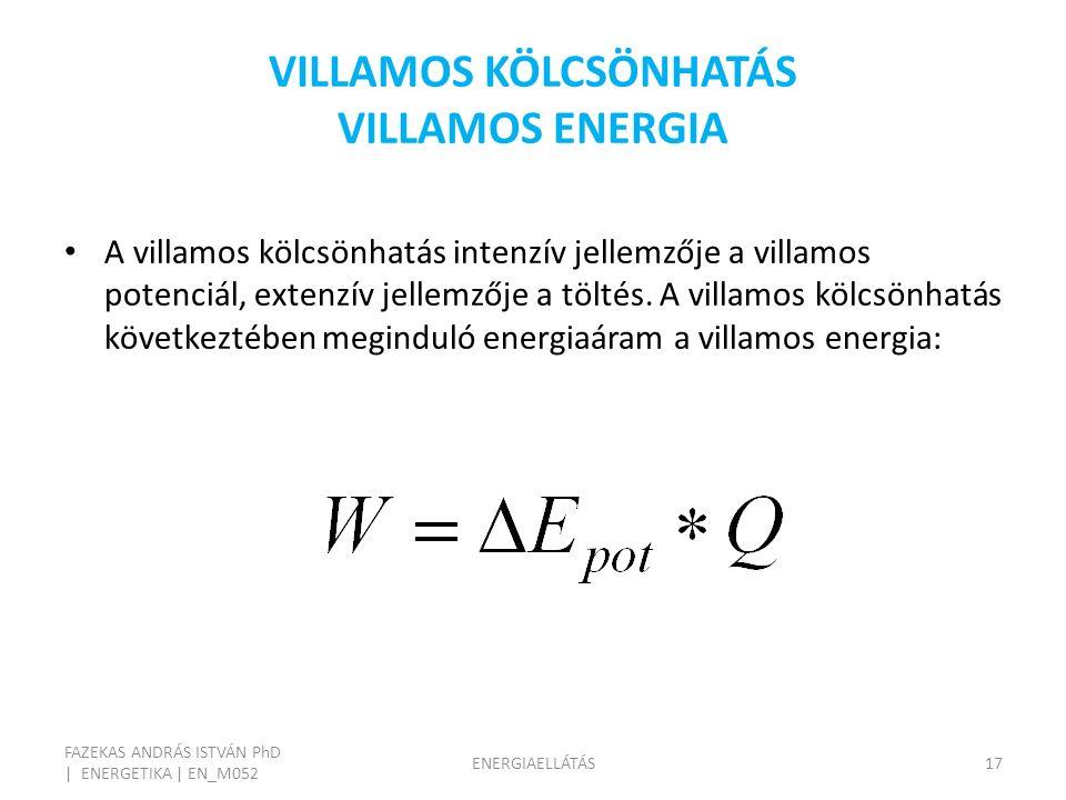 VILLAMOS KÖLCSÖNHATÁS VILLAMOS ENERGIA FAZEKAS ANDRÁS ISTVÁN PhD | ENERGETIKA | EN_M052 ENERGIAELLÁTÁS17 A villamos kölcsönhatás intenzív jellemzője a villamos potenciál, extenzív jellemzője a töltés.