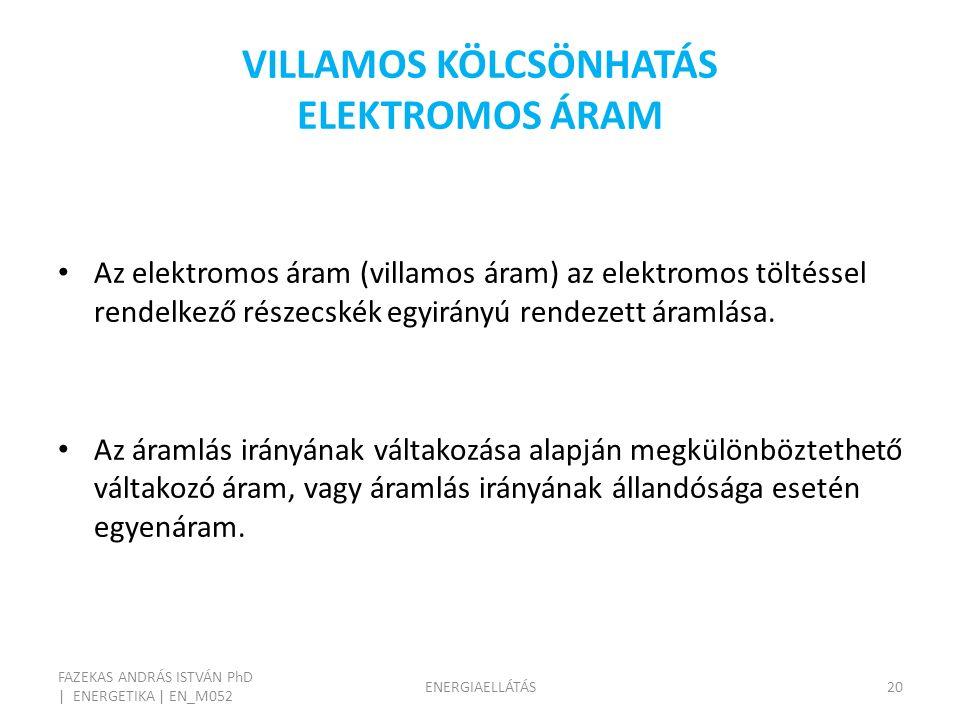 VILLAMOS KÖLCSÖNHATÁS ELEKTROMOS ÁRAM FAZEKAS ANDRÁS ISTVÁN PhD | ENERGETIKA | EN_M052 ENERGIAELLÁTÁS20 Az elektromos áram (villamos áram) az elektromos töltéssel rendelkező részecskék egyirányú rendezett áramlása.