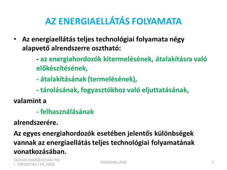 AZ ENERGIAELLÁTÁS FOLYAMATA FAZEKAS ANDRÁS ISTVÁN PhD | ENERGETIKA | EN_M052 ENERGIAELLÁTÁS4 Az energiaellátás teljes technológiai folyamata négy alapvető alrendszerre osztható: - az energiahordozók kitermelésének, átalakításra való előkészítésének, - átalakításának (termelésének), - tárolásának, fogyasztókhoz való eljuttatásának, valamint a - felhasználásának alrendszerére.