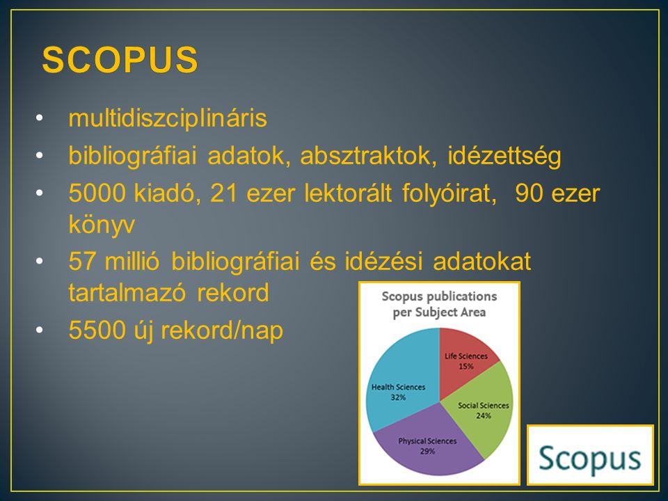 multidiszciplináris bibliográfiai adatok, absztraktok, idézettség 5000 kiadó, 21 ezer lektorált folyóirat, 90 ezer könyv 57 millió bibliográfiai és id