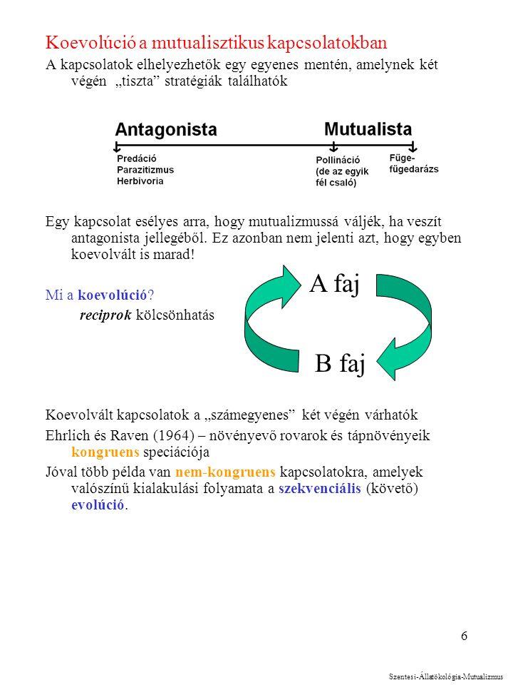 """6 Koevolúció a mutualisztikus kapcsolatokban A kapcsolatok elhelyezhetők egy egyenes mentén, amelynek két végén """"tiszta stratégiák találhatók Egy kapcsolat esélyes arra, hogy mutualizmussá váljék, ha veszít antagonista jellegéből."""