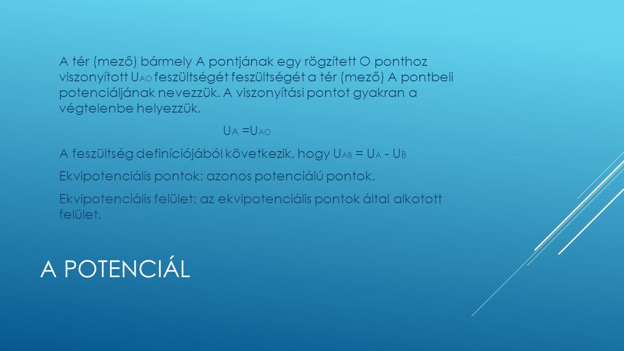 A POTENCIÁL A tér (mező) bármely A pontjának egy rögzített O ponthoz viszonyított U AO feszültségét feszültségét a tér (mező) A pontbeli potenciáljának nevezzük.