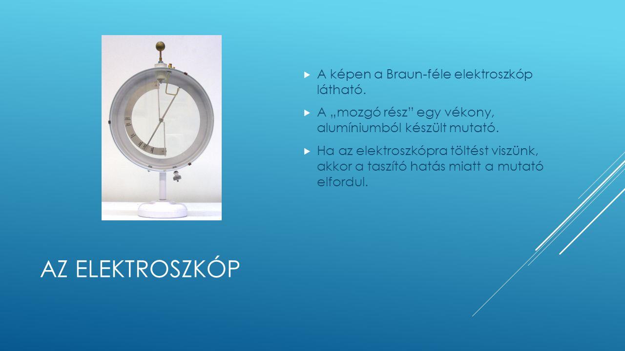 AZ ELEKTROSZKÓP  A képen a Braun-féle elektroszkóp látható.