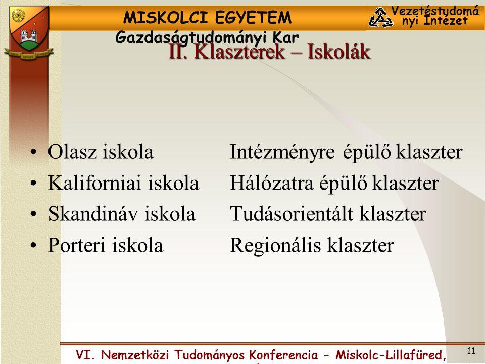 MISKOLCI EGYETEM Gazdaságtudományi Kar Vezetéstudomá nyi Intézet VI.