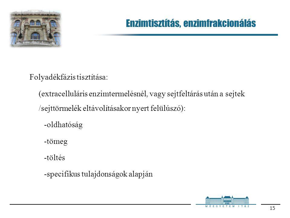 15 Enzimtisztítás, enzimfrakcionálás Folyadékfázis tisztítása: (extracelluláris enzimtermelésnél, vagy sejtfeltárás után a sejtek /sejttörmelék eltávolításakor nyert felülúszó): -oldhatóság -tömeg -töltés -specifikus tulajdonságok alapján