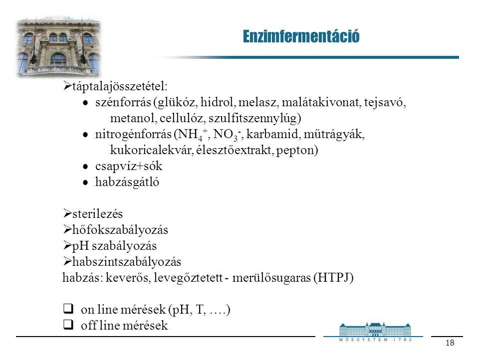 18  táptalajösszetétel:  szénforrás (glükóz, hidrol, melasz, malátakivonat, tejsavó, metanol, cellulóz, szulfitszennylúg)  nitrogénforrás (NH 4 +, NO 3 -, karbamid, műtrágyák, kukoricalekvár, élesztőextrakt, pepton)  csapvíz+sók  habzásgátló  sterilezés  hőfokszabályozás  pH szabályozás  habszintszabályozás habzás: keverős, levegőztetett - merülősugaras (HTPJ)  on line mérések (pH, T, ….)  off line mérések Enzimfermentáció
