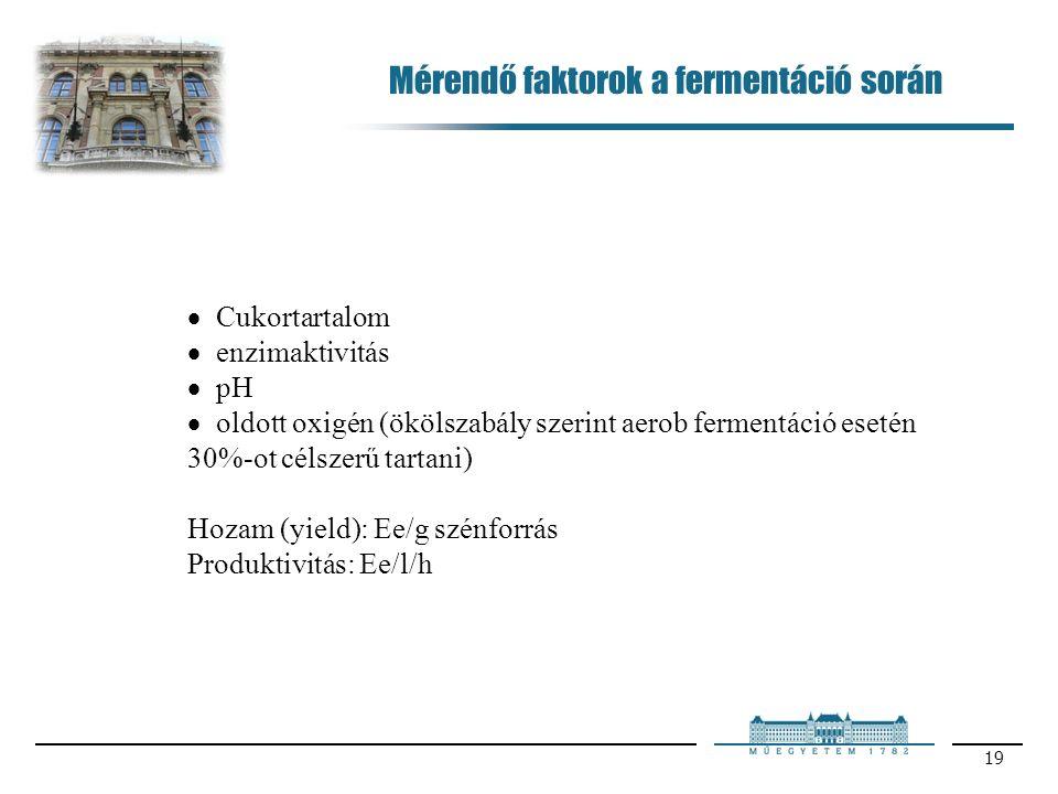19  Cukortartalom  enzimaktivitás  pH  oldott oxigén (ökölszabály szerint aerob fermentáció esetén 30%-ot célszerű tartani) Hozam (yield): Ee/g szénforrás Produktivitás: Ee/l/h Mérendő faktorok a fermentáció során
