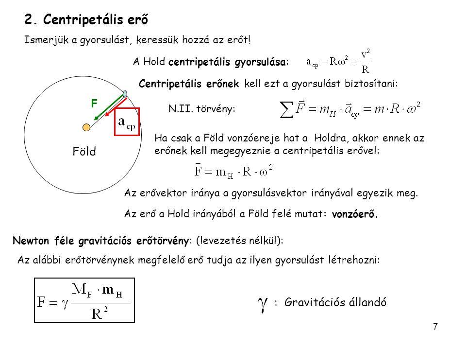 7 Föld F Newton féle gravitációs erőtörvény: (levezetés nélkül): 2. Centripetális erő Ismerjük a gyorsulást, keressük hozzá az erőt! : Gravitációs áll