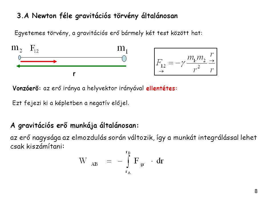8 Egyetemes törvény, a gravitációs erő bármely két test között hat: 3.A Newton féle gravitációs törvény általánosan r Vonzóerő: az erő iránya a helyve