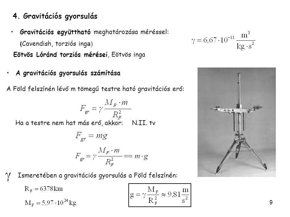 9 A Föld felszínén lévő m tömegű testre ható gravitációs erő: Gravitációs együttható meghatározása méréssel: ( Cavendish, torziós ing a) Eötvös Lóránd torziós mérései, Eötvös inga Ismeretében a gravitációs gyorsulás a Föld felszínén: N.II.