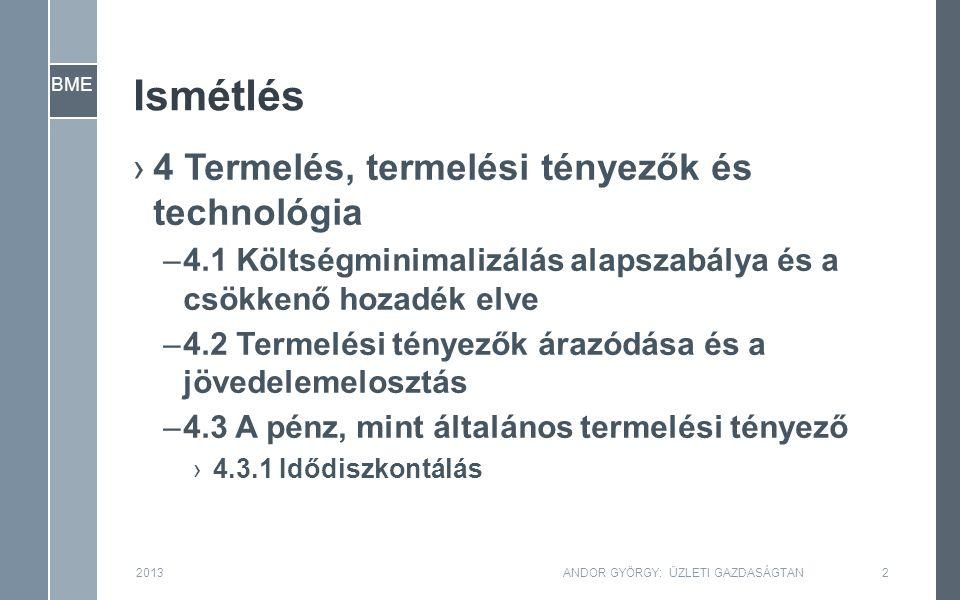 BME Ismétlés ›4 Termelés, termelési tényezők és technológia –4.1 Költségminimalizálás alapszabálya és a csökkenő hozadék elve –4.2 Termelési tényezők árazódása és a jövedelemelosztás –4.3 A pénz, mint általános termelési tényező ›4.3.1 Idődiszkontálás 2013ANDOR GYÖRGY: ÜZLETI GAZDASÁGTAN2