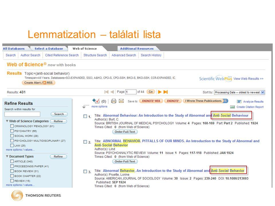 Lemmatization – találati lista