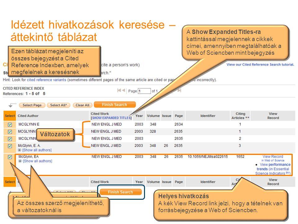 Idézett hivatkozások keresése – áttekintő táblázat Helyes hivatkozás A kék View Record link jelzi, hogy a tételnek van forrásbejegyzése a Web of Scien