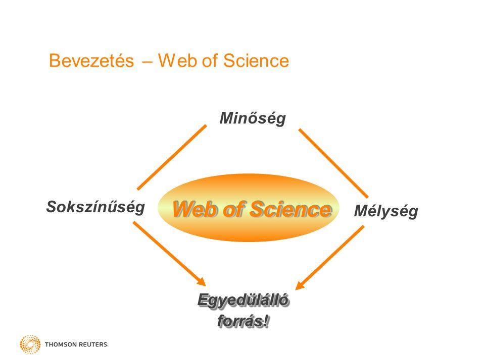 Bevezetés – Web of Science Minőség Sokszínűség Mélység Egyedülálló forrás! Web of Science