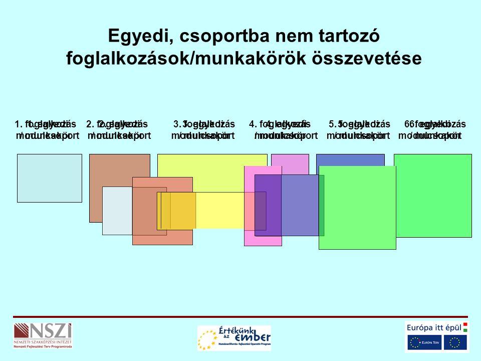 Egyedi, csoportba nem tartozó foglalkozások/munkakörök összevetése 1. foglalkozás / munkakör 2. foglalkozás / munkakör 3. foglalkozás / munkakör 4. fo