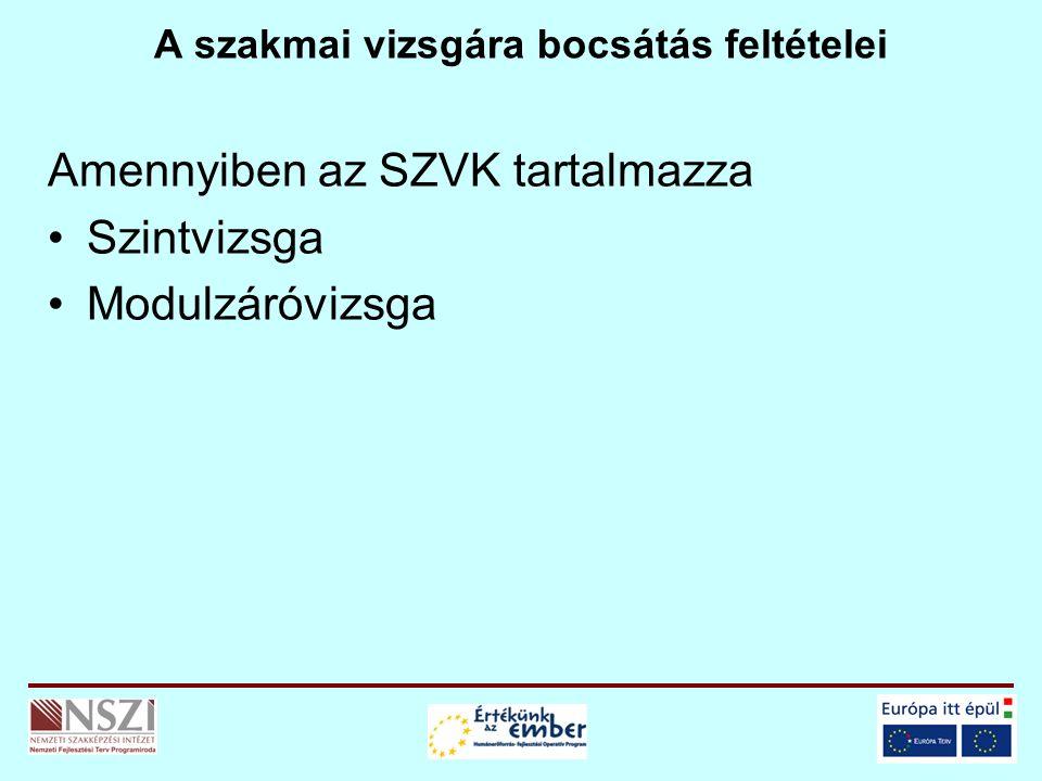A szakmai vizsgára bocsátás feltételei Amennyiben az SZVK tartalmazza Szintvizsga Modulzáróvizsga