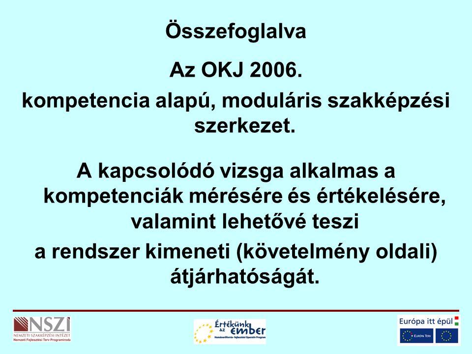 Összefoglalva Az OKJ 2006. kompetencia alapú, moduláris szakképzési szerkezet. A kapcsolódó vizsga alkalmas a kompetenciák mérésére és értékelésére, v