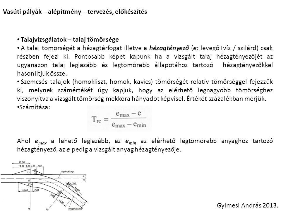Vasúti pályák – alépítmény – tervezés, előkészítés Gyimesi András 2013. Talajvizsgálatok – talaj tömörsége A talaj tömörségét a hézagtérfogat illetve