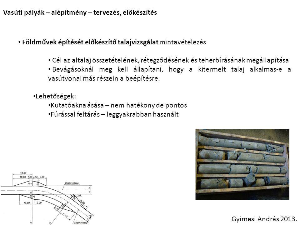 Vasúti pályák – alépítmény – tervezés, előkészítés Gyimesi András 2013. Földművek építését előkészítő talajvizsgálat mintavételezés Cél az altalaj öss