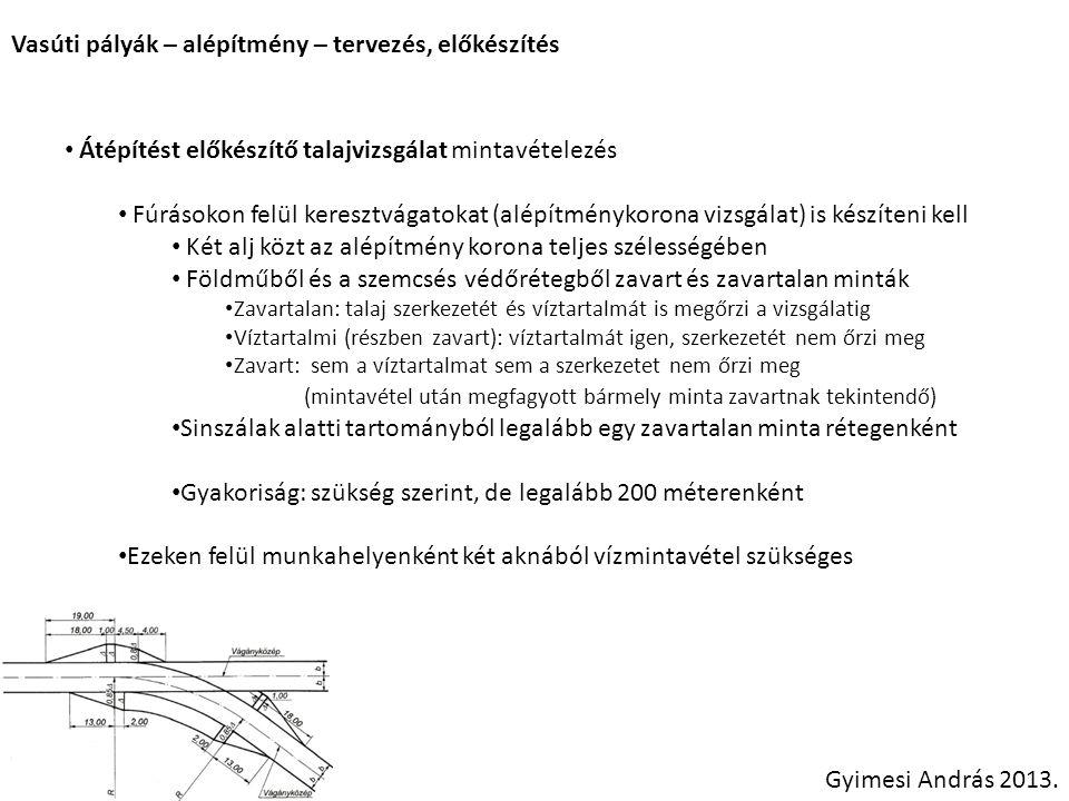 Vasúti pályák – alépítmény – tervezés, előkészítés Gyimesi András 2013. Átépítést előkészítő talajvizsgálat mintavételezés Fúrásokon felül keresztvága