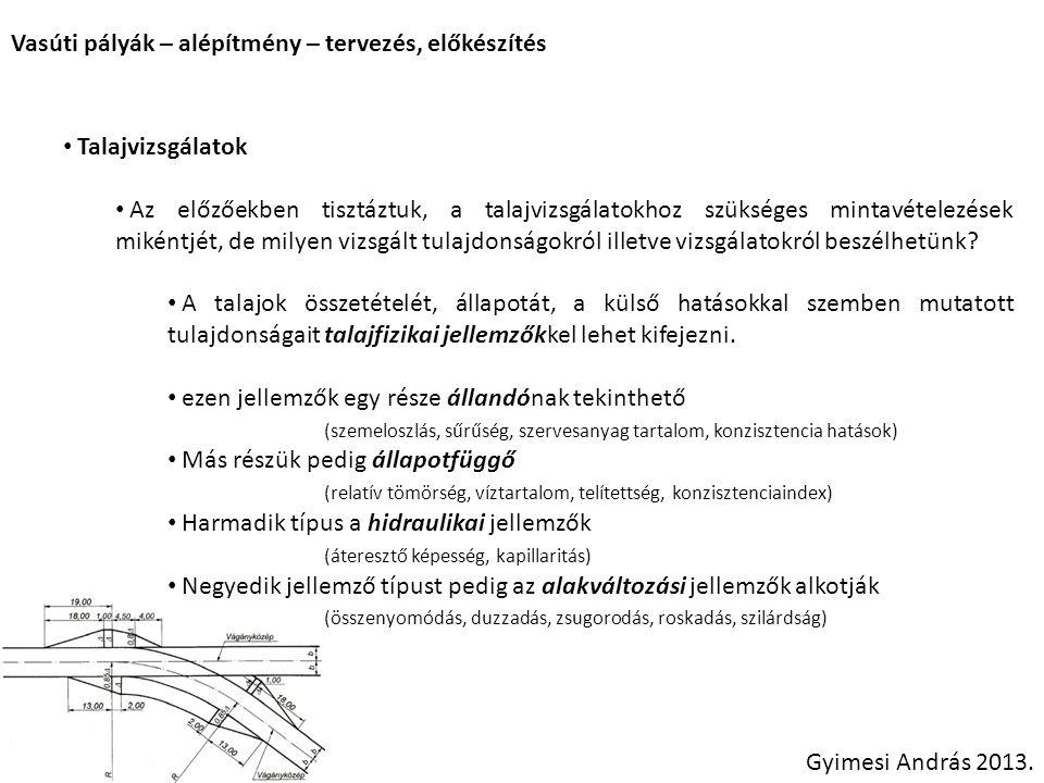 Vasúti pályák – alépítmény – tervezés, előkészítés Gyimesi András 2013. Talajvizsgálatok Az előzőekben tisztáztuk, a talajvizsgálatokhoz szükséges min
