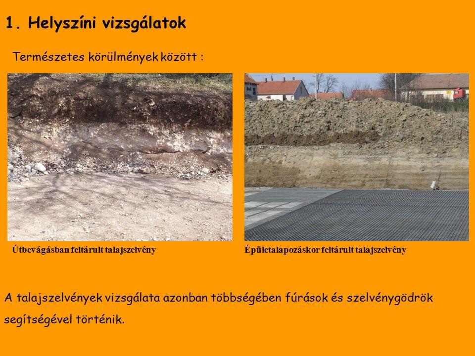 Talajszelvények, talajfúrások Talajkutató szelvénygödör (forrás: www.enfo.agt.bme.hu) Kézi fúróval feltárt talajszelvény (forrás: www.enfo.agt.bme.hu)