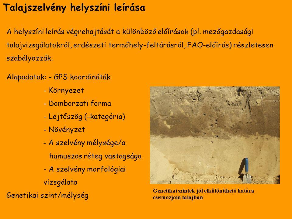 Talaj színe A talajszín meghatározásához használatos Munsell-skála Talaj fizikai minősége Fizikai minőség Ujjunk között morzsolvaGyúrva Homok szárazon és nedvesen is éles felületeket érzünk nem lehet golyót formálni belőle, szétesik Homokos vályog apró homokszemcsék mellett porszerű, sima felületű részek is vannak benne golyó formálható belőle, hengerré nem sodorható Vályog vizesen nem érdes, de nem is csúszós a felülete golyó és henger is formálható belőle, gyűrű alakra nem hajlítható Agyagos vályog foltosan rátapad a kézre golyóvá, hengerré, gyűrű alakúvá formálható Agyag nedvesen síkos, szárazon nehezen nyomható szét mindenféle alak jól formálható belőle A talajok fizikai minőségének tapasztalati meghatározása (F ÜLEKY 2011)