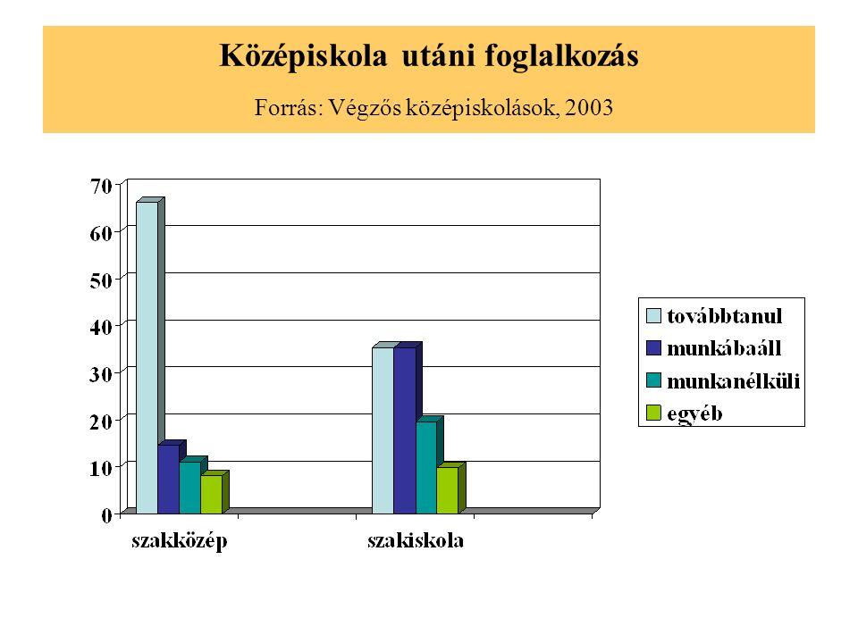 Középiskola utáni foglalkozás Forrás: Végzős középiskolások, 2003