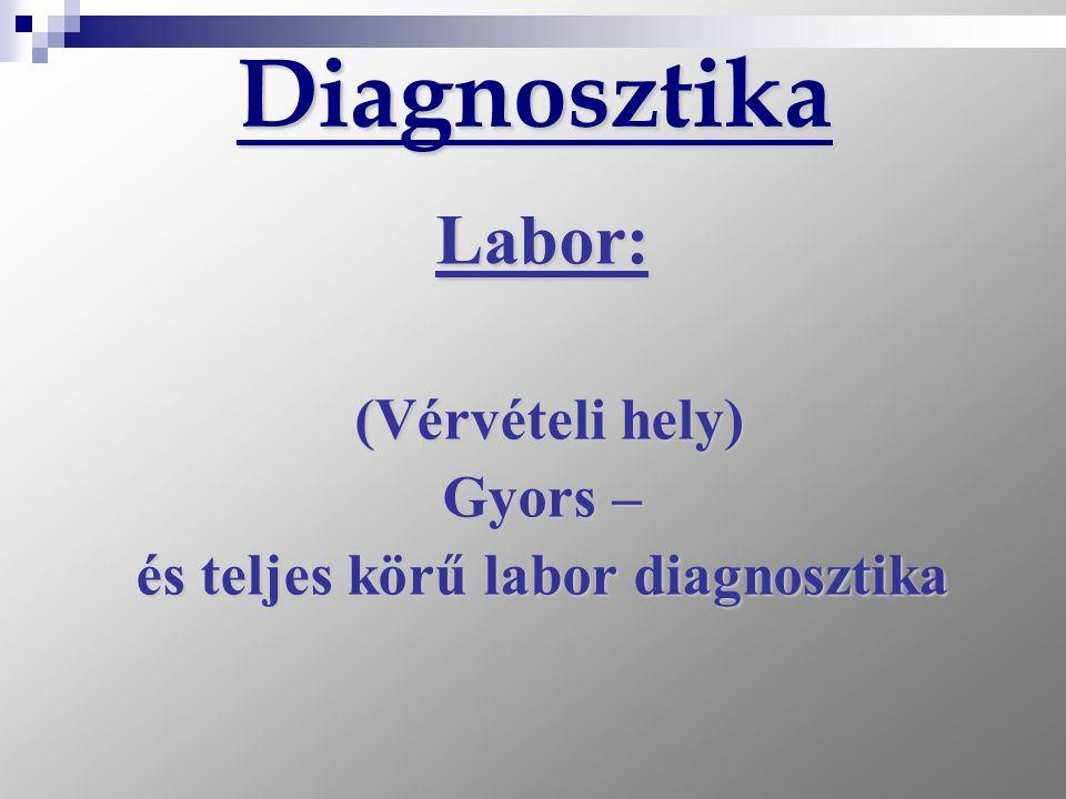 Diagnosztika Labor: (Vérvételi hely) (Vérvételi hely) Gyors – és teljes körű labor diagnosztika