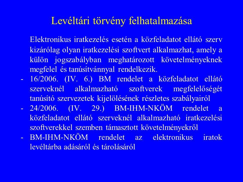 Levéltári törvény felhatalmazása Elektronikus iratkezelés esetén a közfeladatot ellátó szerv kizárólag olyan iratkezelési szoftvert alkalmazhat, amely a külön jogszabályban meghatározott követelményeknek megfelel és tanúsítvánnyal rendelkezik.