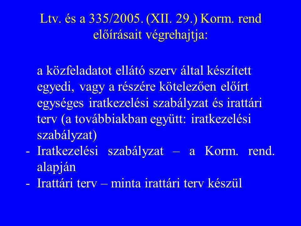 Ltv. és a 335/2005. (XII. 29.) Korm. rend előírásait végrehajtja: a közfeladatot ellátó szerv által készített egyedi, vagy a részére kötelezően előírt