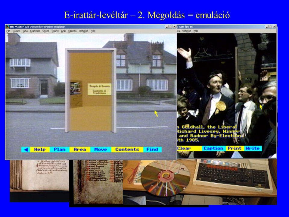 E-irattár-levéltár – 2. Megoldás = emuláció Domesday Book