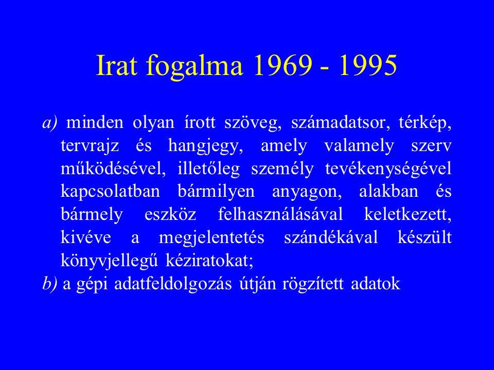 Irat fogalma 1969 - 1995 a) minden olyan írott szöveg, számadatsor, térkép, tervrajz és hangjegy, amely valamely szerv működésével, illetőleg személy