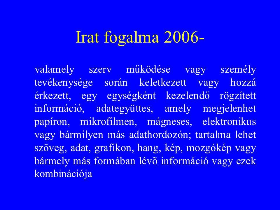 Irat fogalma 2006- valamely szerv működése vagy személy tevékenysége során keletkezett vagy hozzá érkezett, egy egységként kezelendő rögzített informá