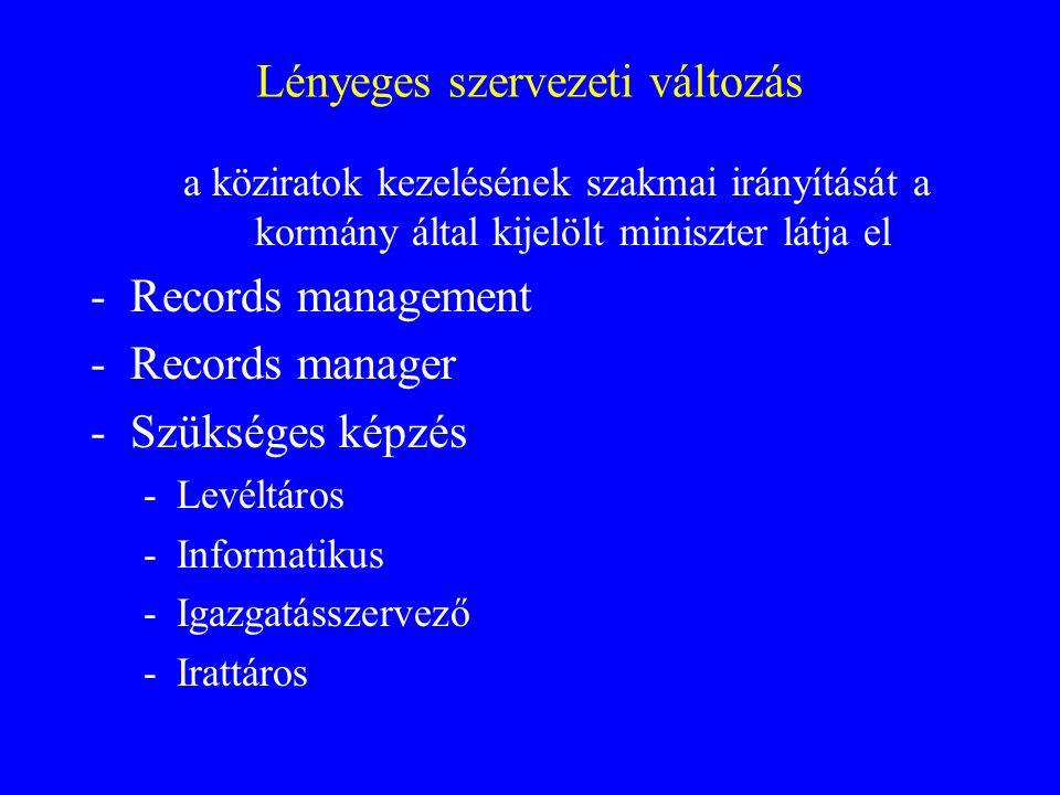 Lényeges szervezeti változás a köziratok kezelésének szakmai irányítását a kormány által kijelölt miniszter látja el -Records management -Records manager -Szükséges képzés -Levéltáros -Informatikus -Igazgatásszervező -Irattáros