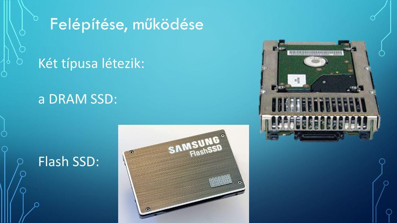 Felépítése, működése Két típusa létezik: a DRAM SSD: Flash SSD: