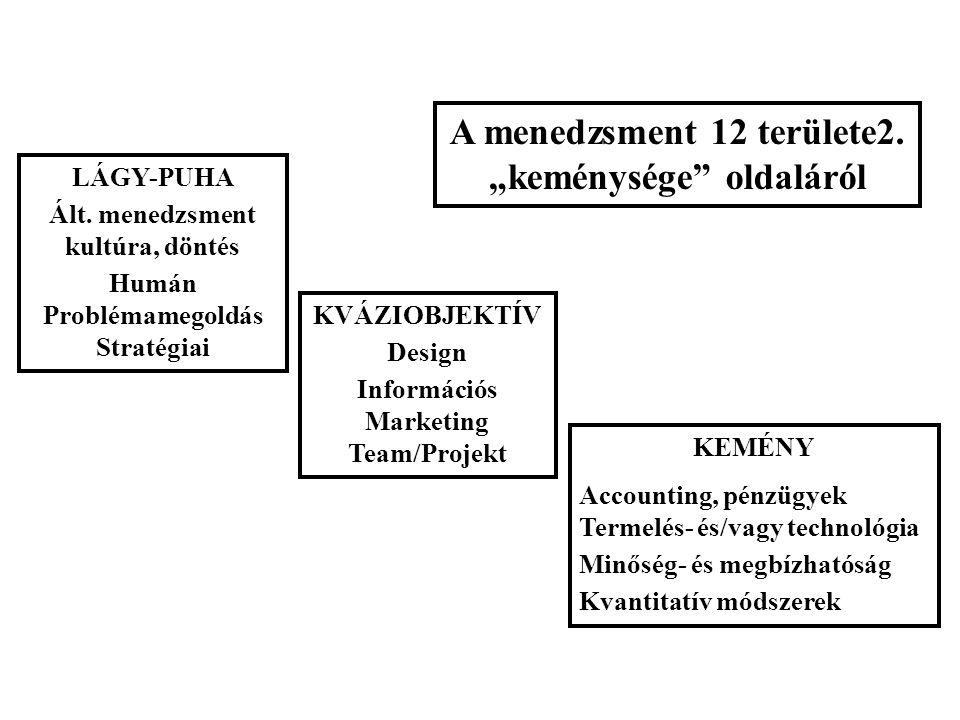 """LÁGY-PUHA Ált. menedzsment kultúra, döntés Humán Problémamegoldás Stratégiai A menedzsment 12 területe2. """"keménysége"""" oldaláról KEMÉNY Accounting, pén"""