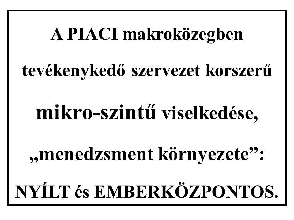 """A PIACI makroközegben tevékenykedő szervezet korszerű mikro-szintű viselkedése, """"menedzsment környezete"""": NYÍLT és EMBERKÖZPONTOS."""