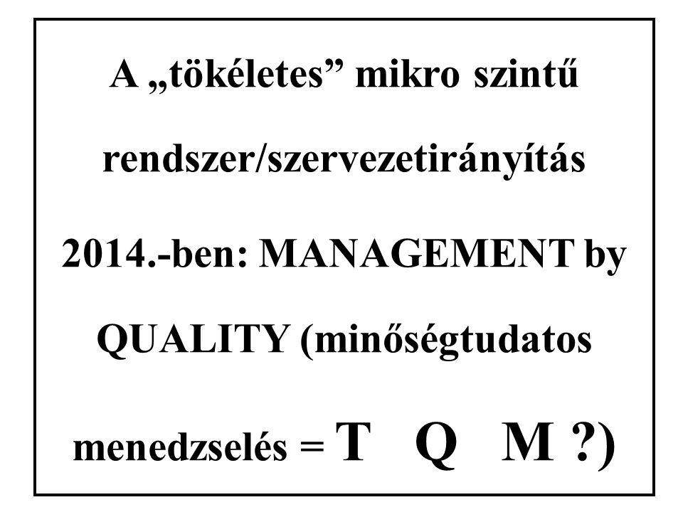 """A """"tökéletes"""" mikro szintű rendszer/szervezetirányítás 2014.-ben: MANAGEMENT by QUALITY (minőségtudatos menedzselés = T Q M ?)"""
