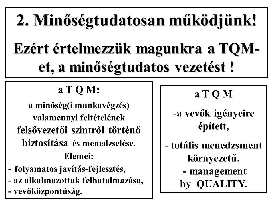 2. Minőségtudatosan működjünk! Ezért értelmezzük magunkra a TQM- et, a minőségtudatos vezetést ! a T Q M: a minőség(i munkavégzés) valamennyi feltétel