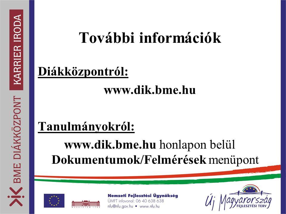 További információk Diákközpontról: www.dik.bme.hu Tanulmányokról: www.dik.bme.hu honlapon belül Dokumentumok/Felmérések menüpont