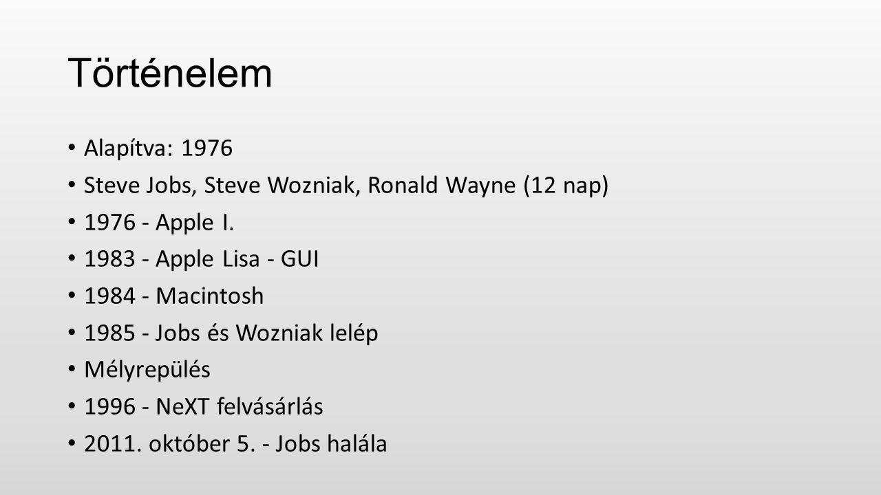 Történelem Alapítva: 1976 Steve Jobs, Steve Wozniak, Ronald Wayne (12 nap) 1976 - Apple I.