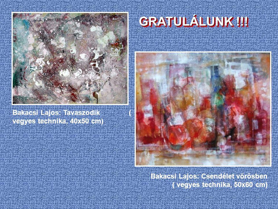 Bakacsi Lajos: Tavaszodik ( vegyes technika, 40x50 cm) Bakacsi Lajos: Csendélet vörösben ( vegyes technika, 50x60 cm) GRATULÁLUNK !!!