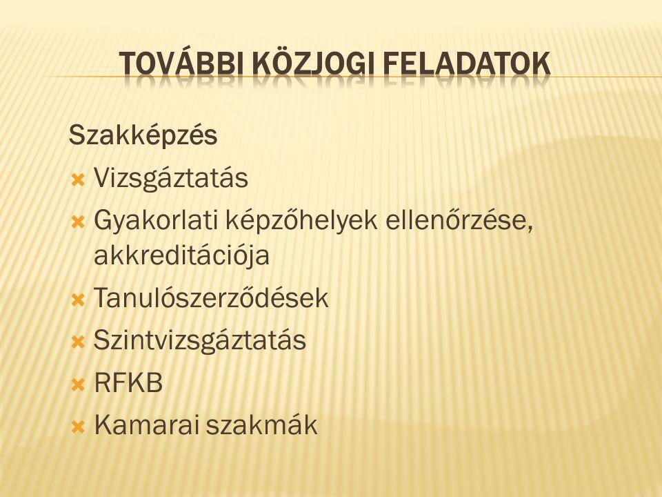 Szakképzés  Vizsgáztatás  Gyakorlati képzőhelyek ellenőrzése, akkreditációja  Tanulószerződések  Szintvizsgáztatás  RFKB  Kamarai szakmák